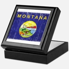 Montana Flag Distressed Keepsake Box