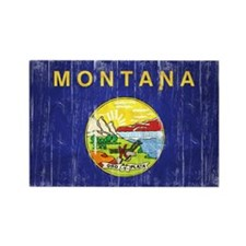 Montana Flag Distressed Rectangle Magnet