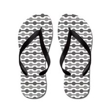 Grey And White Beaded Lines Flip Flops