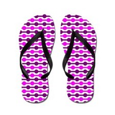 Pink And White Beaded Lines Flip Flops