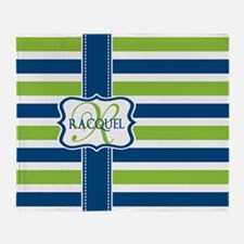 Blue and Lime Stripes Custom Monogram Throw Blanke