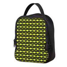 Yellow And Black Beaded Lines Neoprene Lunch Bag