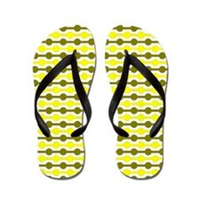 Yellow And White Beaded Lines Flip Flops