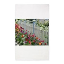 Tulips Along White Picket Fence 3'x5' Area Rug