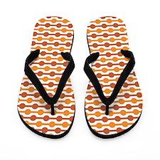 Orange And White Beaded Lines Flip Flops