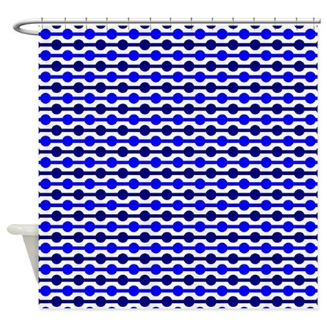 Blue And Black Beaded Lines Shower Curtain By Colorfulpatterns