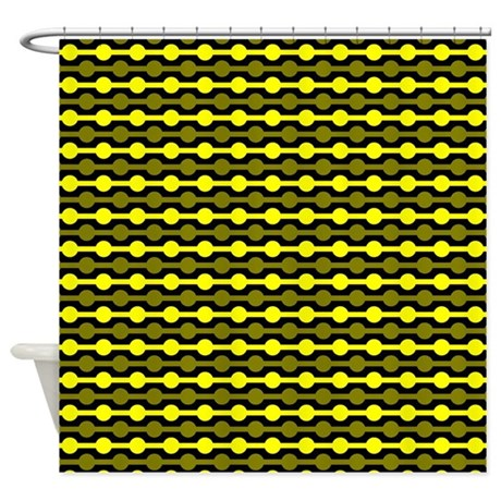yellow and black beaded lines shower curtain by colorfulpatterns. Black Bedroom Furniture Sets. Home Design Ideas