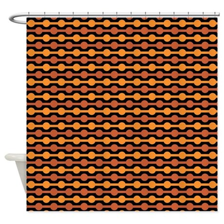Orange And Black Beaded Lines Shower Curtain By ColorfulPatterns