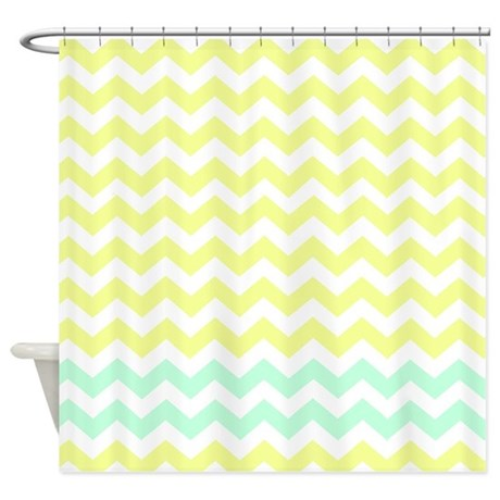 Yellow And Light Green Chevrons Shower Curtain By FamilyFunShoppe