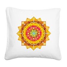 Sunny mandala Square Canvas Pillow