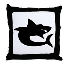 Shark Silhouette Throw Pillow