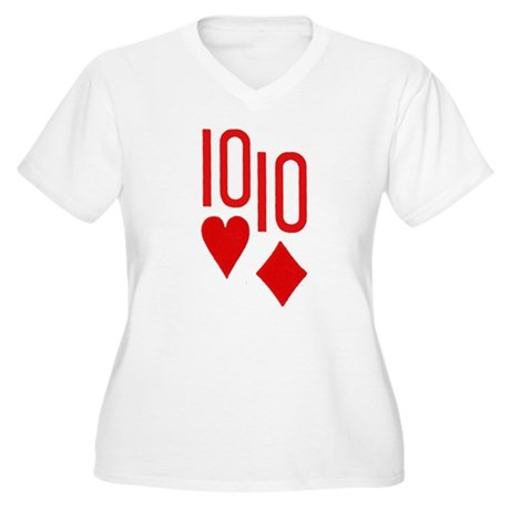 Pocket Tens Poker Women's Plus Size V-Neck T-Shirt