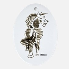 Winking Horse Good Luck! Ornament (Oval)