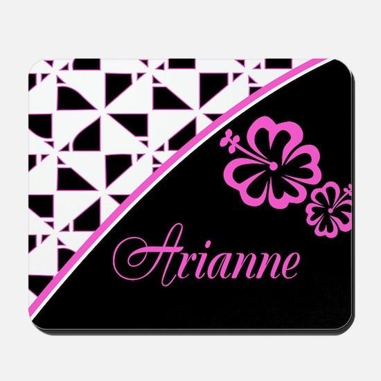 Stylish Hibiscus Pink N Black - Custom Mousepad