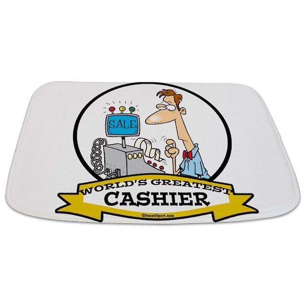 Cashier Cartoons: WORLDS GREATEST CASHIER MALE CARTOON.png Bathmat By