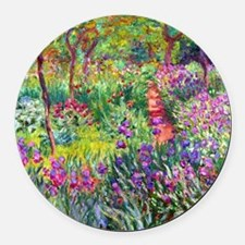 The Iris Garden by Claude Monet Round Car Magnet