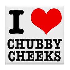 I Heart (Love) Chubby Cheeks Tile Coaster
