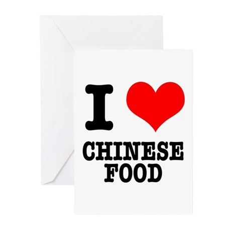 I Heart (Love) Chinese Food Greeting Cards (Packag