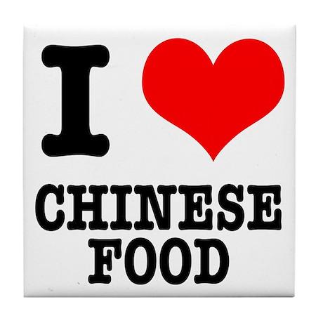 I Heart (Love) Chinese Food Tile Coaster