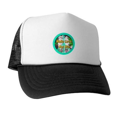 Make Love Not War Peace Symbo Trucker Hat