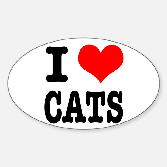 I Heart (Love) Cats Oval Decal