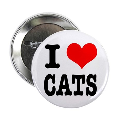 """I Heart (Love) Cats 2.25"""" Button (10 pack)"""