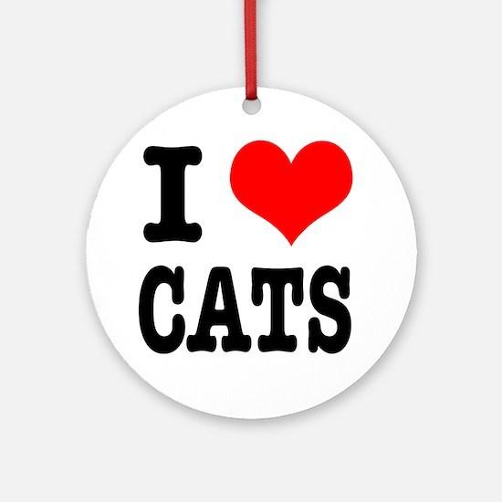 I Heart (Love) Cats Ornament (Round)