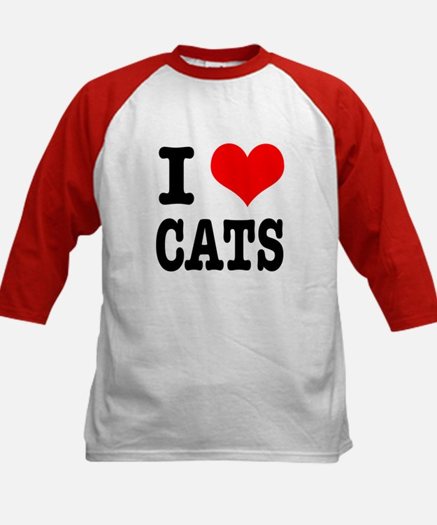 I Heart (Love) Cats Kids Baseball Jersey