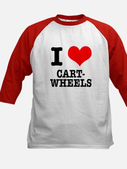 I Heart (Love) Cartwheels Kids Baseball Jersey