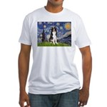Starry Night Border Collie Fitted T-Shirt