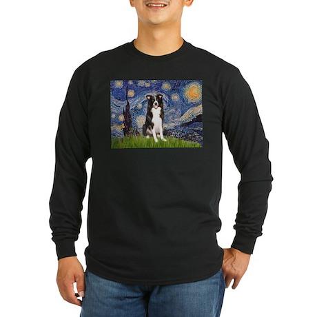 Starry Night Border Collie Long Sleeve Dark T-Shir