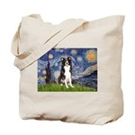Starry Night Border Collie Tote Bag