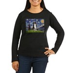 Starry Night Border Collie Women's Long Sleeve Dar