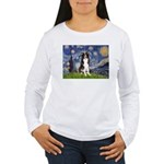 Starry Night Border Collie Women's Long Sleeve T-S