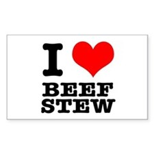 I Heart (Love) Beef Stew Rectangle Decal