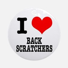 I Heart (Love) Back Scratchers Ornament (Round)