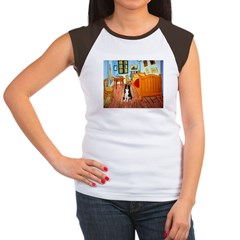 Room with Border Collie Women's Cap Sleeve T-Shirt