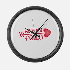 Cupid arrow right Hes my fella Large Wall Clock
