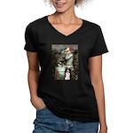 Ophelia & Border Collie Women's V-Neck Dark T-Shir