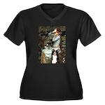 Ophelia & Border Collie Women's Plus Size V-Neck D