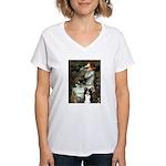 Ophelia & Border Collie Women's V-Neck T-Shirt