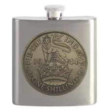 1944 BRITISH SILVER Shilling WORLD WAR II Co Flask