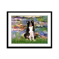 Lilies & Border Collie Framed Panel Print