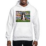Lilies & Border Collie Hooded Sweatshirt