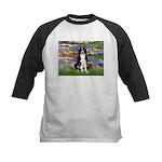 Lilies & Border Collie Kids Baseball Jersey