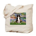 Lilies & Border Collie Tote Bag