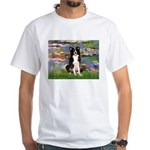 Lilies & Border Collie White T-Shirt