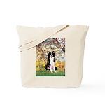 Spring & Border Collie Tote Bag