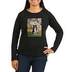 Spring & Border Collie Women's Long Sleeve Dark T-