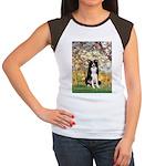 Spring & Border Collie Women's Cap Sleeve T-Shirt